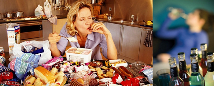 Binge Eating and Drinking. Consumption of massive amount of food and drinks in a short time.