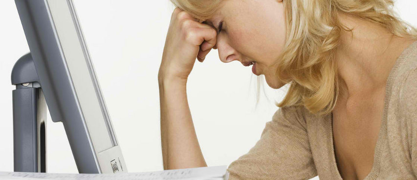 Stressed-out Woman Feeling Tired and Hopeless